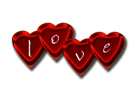 Graphic illustration of hearts with metallic surface and love letters on top Stock Illustration - 11876999