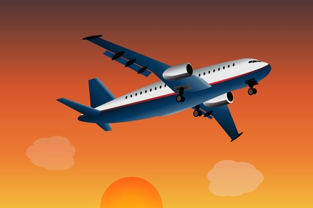 commercial airplane: Graphic illustration of commercial airplane what is flying away.