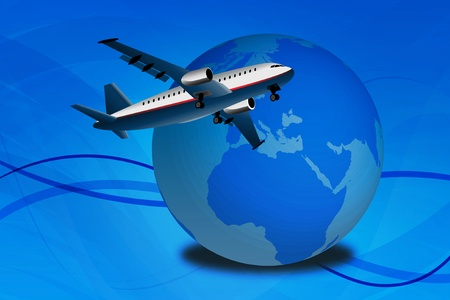 commercial airplane: Graphic illustration with commercial airplane over abstract background