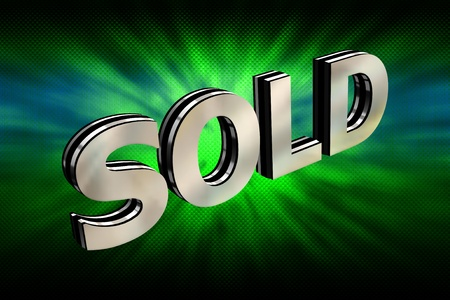 3d metallic sold text over abstract background