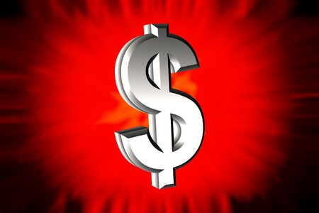 denominational: Illustration of dollar sign with metallic surface Stock Photo