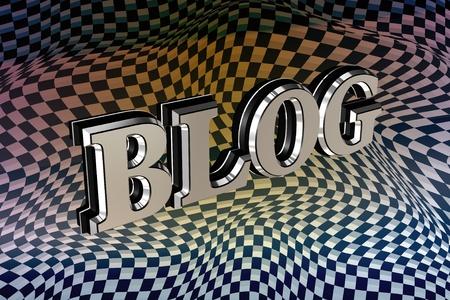Metallic blog 3d text over carbon texture photo