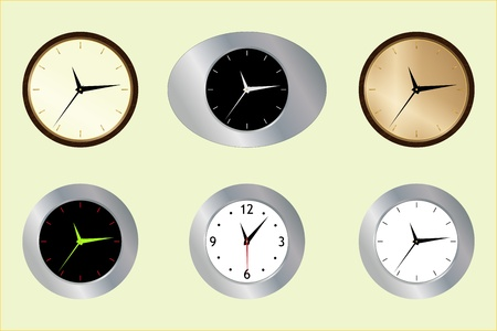Graphic illustration of six wall clocks over picturesque background Vector