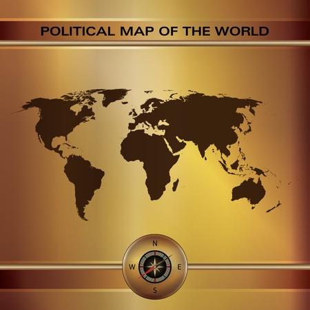 puntos cardinales: Ilustraci�n gr�fica del mapa del mundo sobre la placa de oro