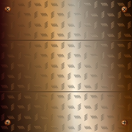 Graphic illustration of golden plates fixed with screws  Vector