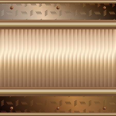 Graphic illustration of technology background with golden plates over metallic surface Vector