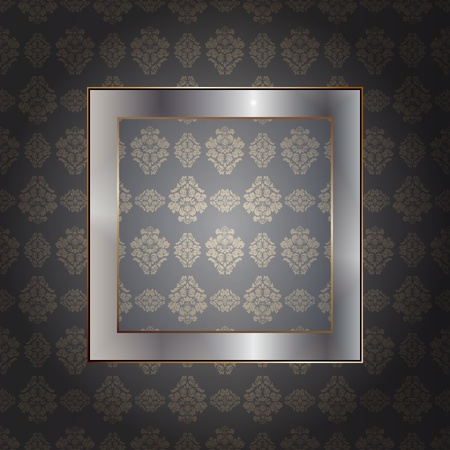 Graphic illustration of metallic frame over wall Vector