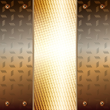 Graphic illustration of technology background with metallic plates and golden core Vector