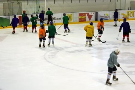 Brasov, Romania - 28.02.2012 - Hockey players following the training program