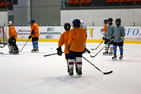 brasov: Brasov, Romania -28.02.2012 - Training time for skaters at Brasov stadium