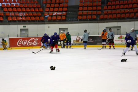 brasov: Brasov, Romania -28.02.2012 - Hockey players on ice at Brasov stadium