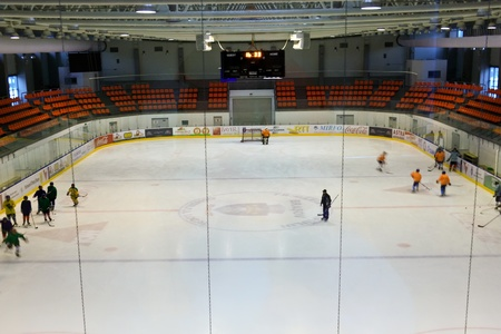 Brasov, Romania - 28.02.2012 - Scene from training to junior ice hockey