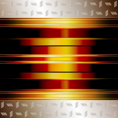 Graphic illustration of technology background with golden plates and incandescent core Vector