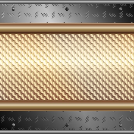 Graphic illustration of technology background with silver plates over metallic surface Vector