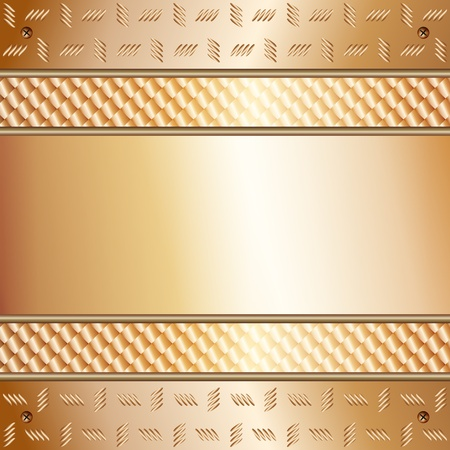 metal monochrome: Graphic illustration of technology background with golden plates with model on top