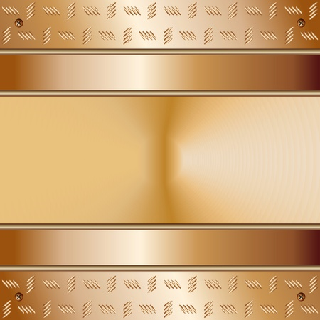 Graphic illustration of technology background with golden plates with model on top and cone in the middle
