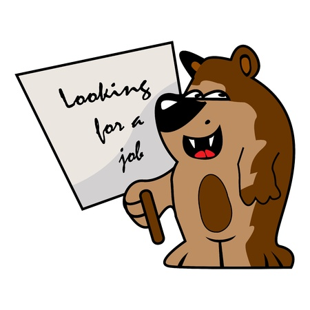 desperation: Graphic illustration of a little bear what is looking for a job Illustration