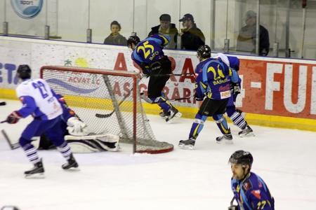 Brasov, Romania - 28.03.2012 - Brasov hockey team in attack Stock Photo - 12877498