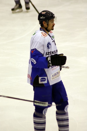 Brasov, Romania - 28.03.2012 - Portrait of hockey player from Miercurea-Ciuc team Stock Photo - 12877471