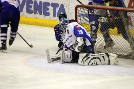 Brasov, Romania - 28.03.2012 - The Hockey Goalie in deffence scene at Brasov stadium Stock Photo - 12877499