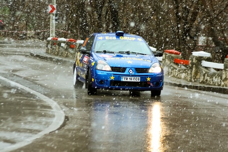 brasov: Brasov, Romania - 30.03.2012 - Scene with abundant snowfall at Brasov rally