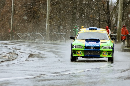 Brasov, Romania - 30.03.2012 - One of the rally competitors during the Brasov rally Stock Photo - 12925801