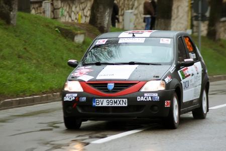 Brasov, Romania - 30.03.2012 - Close up scene with Dacia Logan at Brasov rally