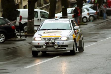 Brasov, Romania - 30.03.2012 - Race car launched in championship at the Brasov rally Stock Photo - 12925776