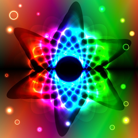 Graphic illustration of magic stars over spectral background
