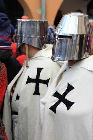 traditional weapon: Brasov, Romania - 22.04.2012 - Medieval warriors on street of Brasov Editorial