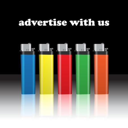 Graphic illustration of lighters with advertise message