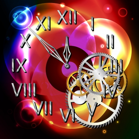Graphic illustration of abstract clock over light shapes