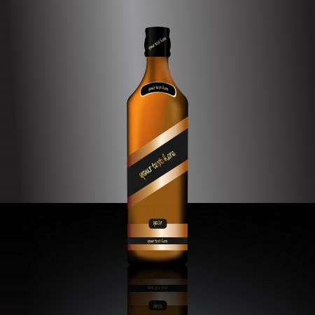 Graphic illustration of a bottle of alcoholic drink Vector