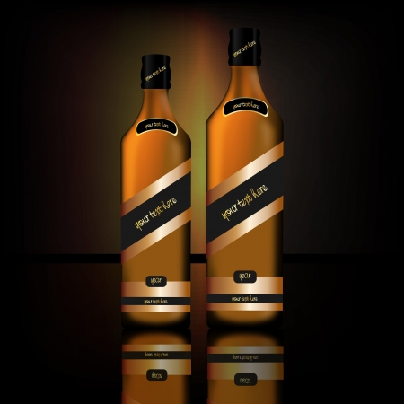 Graphic illustration of two bottles of alcoholic drink