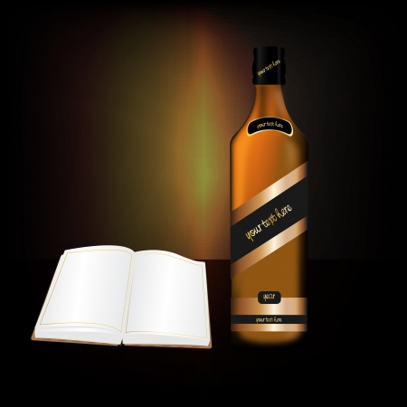 Graphic illustration of a bottle of alcoholic drink with open book Vector