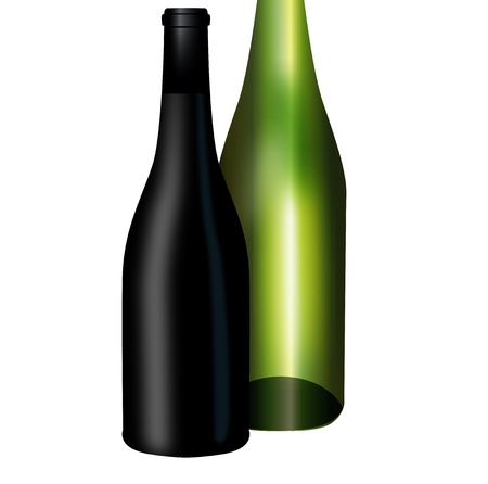 Graphic illustration of two wine bottles Stock Vector - 14032538