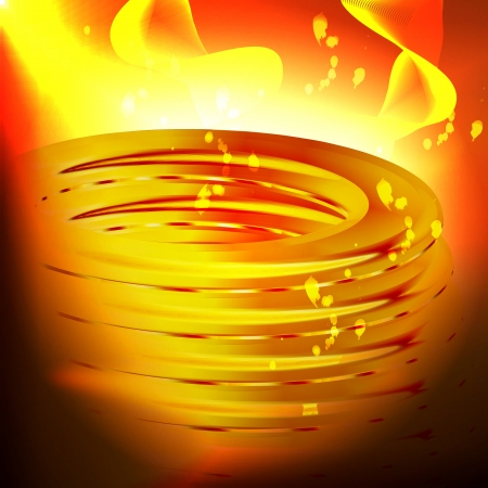 incandescent: Graphic illustration of technology background with golden metal piece and incandescent environment Illustration