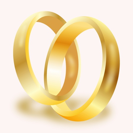 Graphic illustration of a pair of gold wedding rings