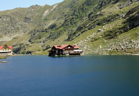 Balea Lake and chalet with the same name, situated on the top of the transfagarasan road photo