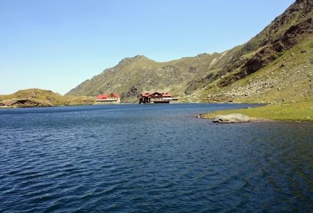 Beautiful view of Balea Lake in Fagaras mountains photo