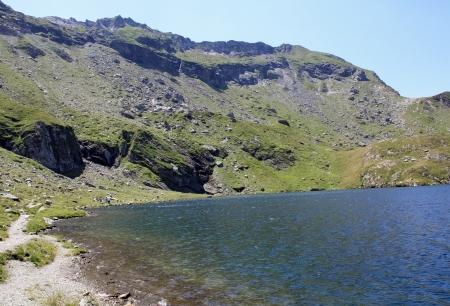 Balea glacial lake in Fagaras mountains photo