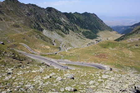 Scene with very difficult road of Transfagarasan from Romania photo
