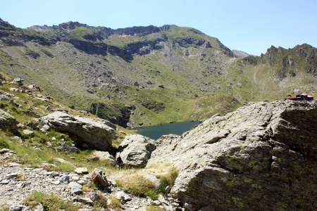 Glacial lake from Carpathian mountains photo