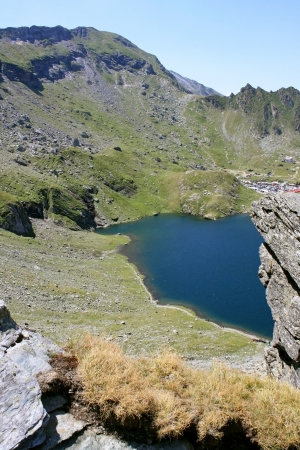 Scene with glacial lake from Romania, Balea lake photo