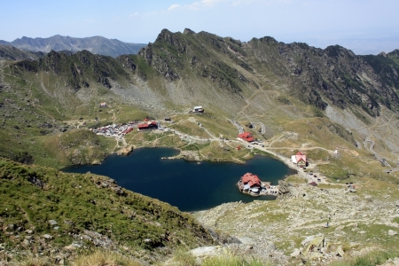 Aerial view over Balea, glacial lake from Romania photo