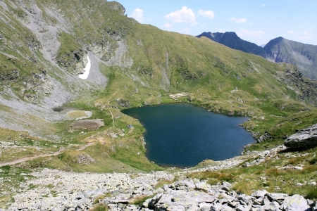 balea: Capra lake from Fagaras mountains, Romania Stock Photo
