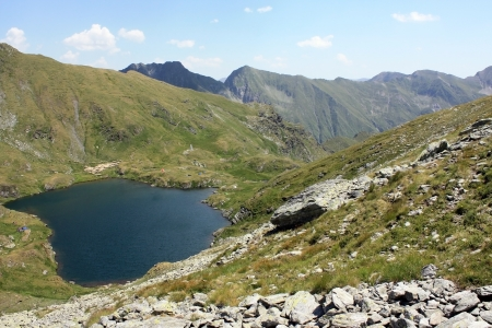 Glacial lake from Fagaras mountains, Romania photo