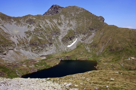 balea: Glacial Goat lake in Fagaras mountains, Romania Stock Photo