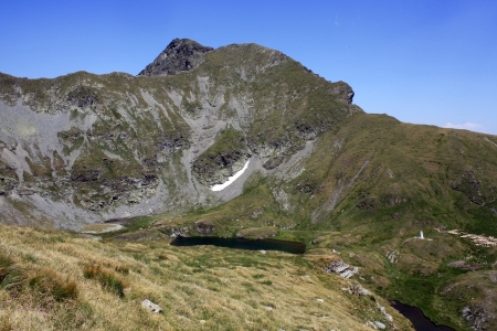 Mountain landscape with Goat lake from Fagaras mountains photo
