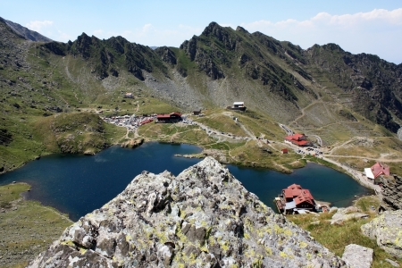 Scene of Balea lake from Transfagarasan, Romania photo